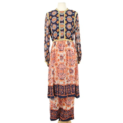 The Four Seasons Multicolor Raw Silk Tunic and Pant Set, 1970s Vintage