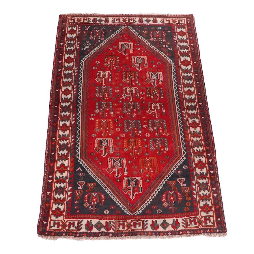 Hand-Knotted Persian Shiraz Luri Wool Rug