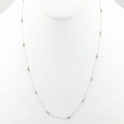10K White Gold Diamond Chain Necklace