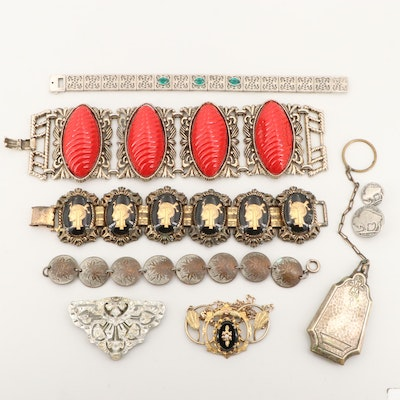 Vintage Jewelry Assortment Including Rhinestones, Glass, and Coin Accents