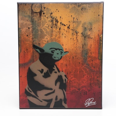 """Chris Cleveland Mixed Media Painting of Yoda """"Jedi Obey"""""""