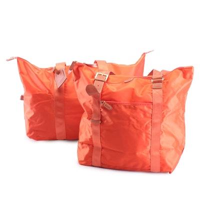 Bric's Orange Nylon and Leather Tote Bags