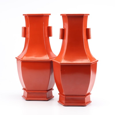 Pair of Vermilion Ceramic Vases