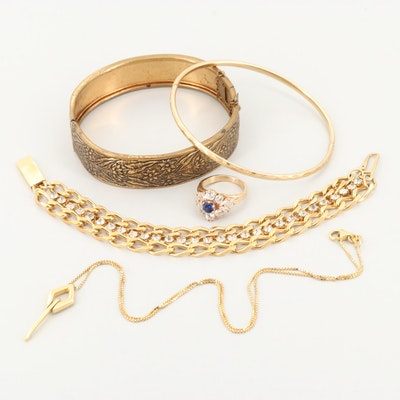 14K Yellow Gold Jewelry Including Costume Bracelets and Synthetic Sapphire