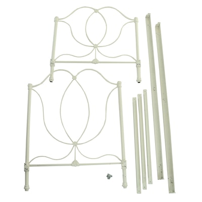 Contemporary Victorian Style White-Painted Iron Twin Size Bed Frame