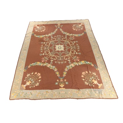 Flatwoven Savonnerie Style Wool Room Size Rug