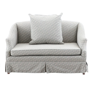 Contemporary Sage Green-Fabric Upholstered Love Seat
