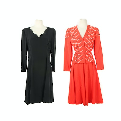 Pauline Trigère Embellished Skirt Suit and Shift Dress with Scalloped Neckline