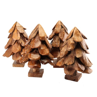 Tumbled Cedar Driftwood Evergreen Tree Sculptures