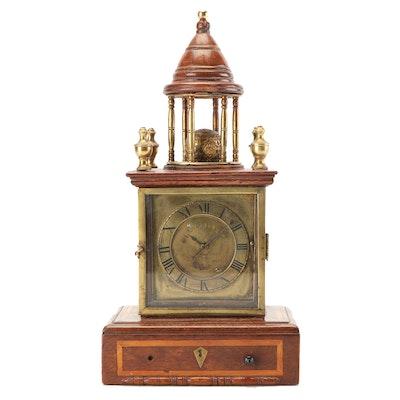 W. Brissington Oak and Brass Dome Bracket Clock