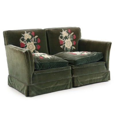Two Piece Love Seat Green Velvet with Hooked Flower Design