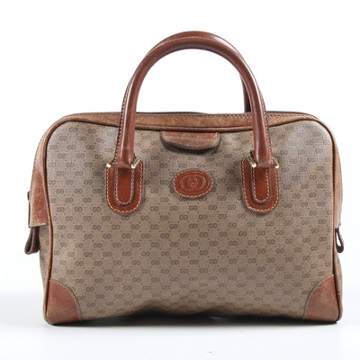 Gucci Top Handle Satchel in Micro GG Supreme Canvas and Leather, Vintage