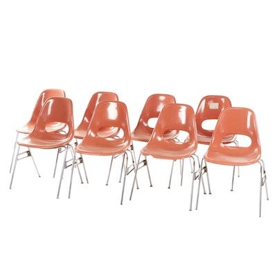 Krueger Mid Century Modern Salmon Pink Molded Fiberglass Classroom Chairs