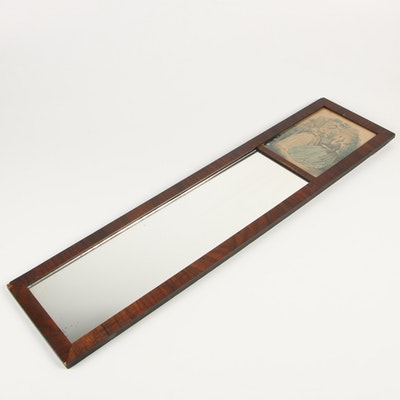 Rosewood Veneer Trumeau Mirror with La Mode Illustrée Style Engraving Panel