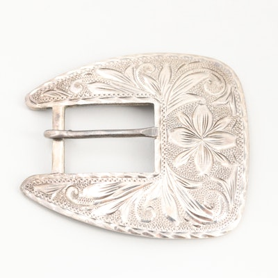 Mexican Sterling Silver Belt Buckle with Scrollwork