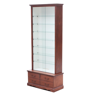 Display Cabinet with Locking Drawer in Fir Wood, Mid to Late 20th Century