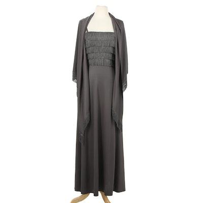 Lilli Diamond of California Fringed Sleeveless Maxi Dress With Shawl