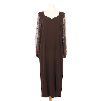 Pauline Trigère Brown Evening Dress with Prong Set Rhinestone on Mesh Sleeves