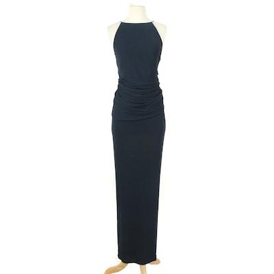 Halston For Neiman Marcus Halter Evening Gown with Draped Waistline