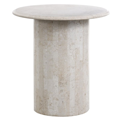 Contemporary Tessellated Marble Cylindrical End Table