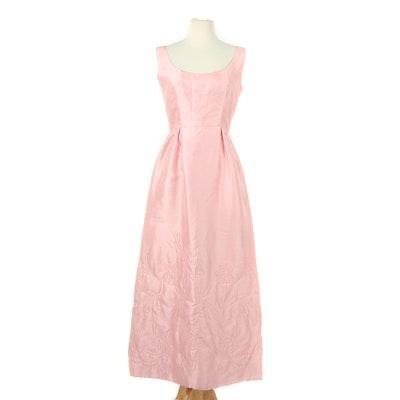 Harold Levine Original Pink Quilted Dupioni Silk Sleeveless Evening Dress, 1960s