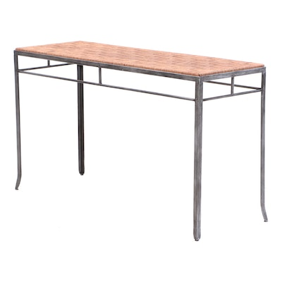 Modernist Console Table with Natural Woven Top, Contemporary