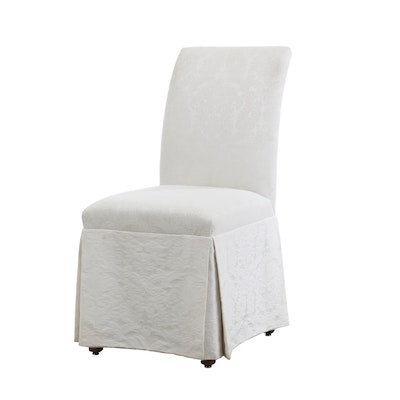 Beverly Interiors Slipper Chair in Damask Upholstery, Contemporary