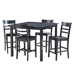 Bistro Dining Table and Chairs with Ebonized Finish, Contemporary