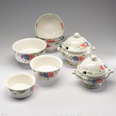 "Villeroy & Boch ""Amapola"" Tureens, Serving Bowls, and Nesting Bakeware"