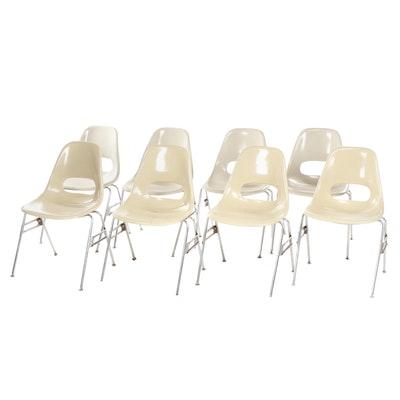 Krueger Mid Century Modern Off White Molded Fiberglass Classroom Chairs
