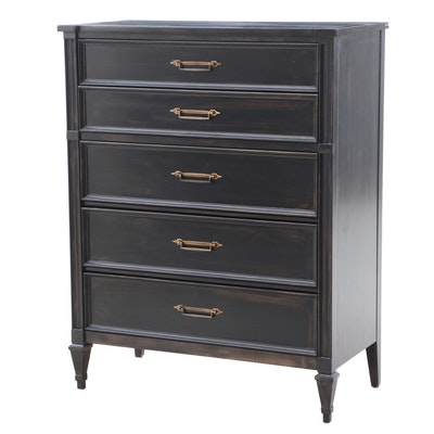 White Furniture Co. Neoclassical Style Ebonized Wooden Chest of Drawers, 1970s