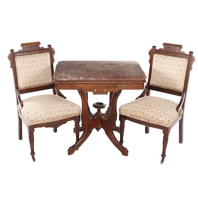 Pair of Eastlake Mahogany Side Chairs with Granite Top Table, Late 20th Century