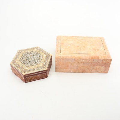 Egyptian Inlaid Box with Tessellated Marble Box