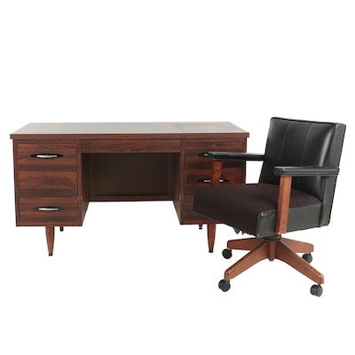 Wooden Desk with Rolling Chair, Vintage