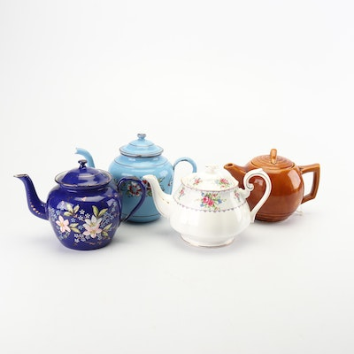 McCoy, Royal Albert and Other Earthenware and Porcelain Teapots, Mid-Century