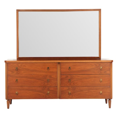 Wooden Chest of Drawers with Wall Mirror, 1960s