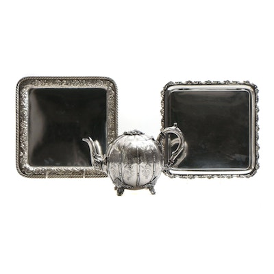 Tiffany & Co. and Gorham Silver-Plated Trays with Mappin Brothers Tea Pot