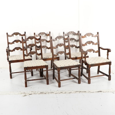 Set of Oak Dining Chairs, Mid-20th Century