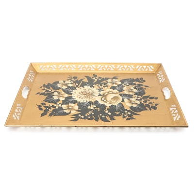 Hand-Painted Floral Tole Tray