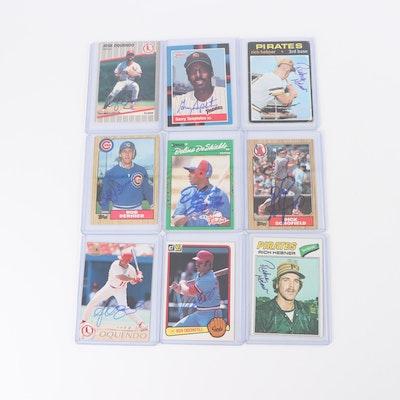 Major League Baseball Autographed Cards including Jose Oquendo