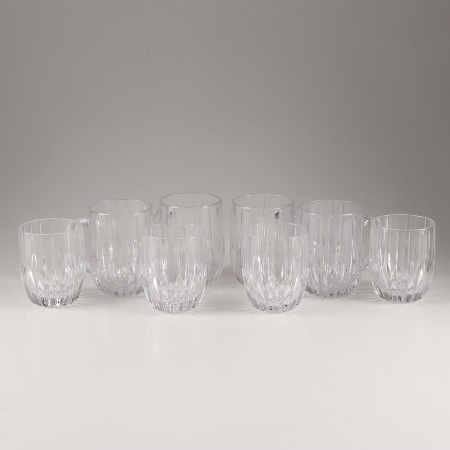 """Mikasa Crystal """"Park Lane"""" Mugs and Double Old Fashioned Glasses"""