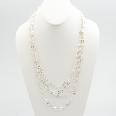 Sterling Silver Hoop Chain Necklace