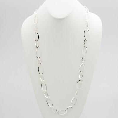 Milor Sterling Silver Hoop Necklace