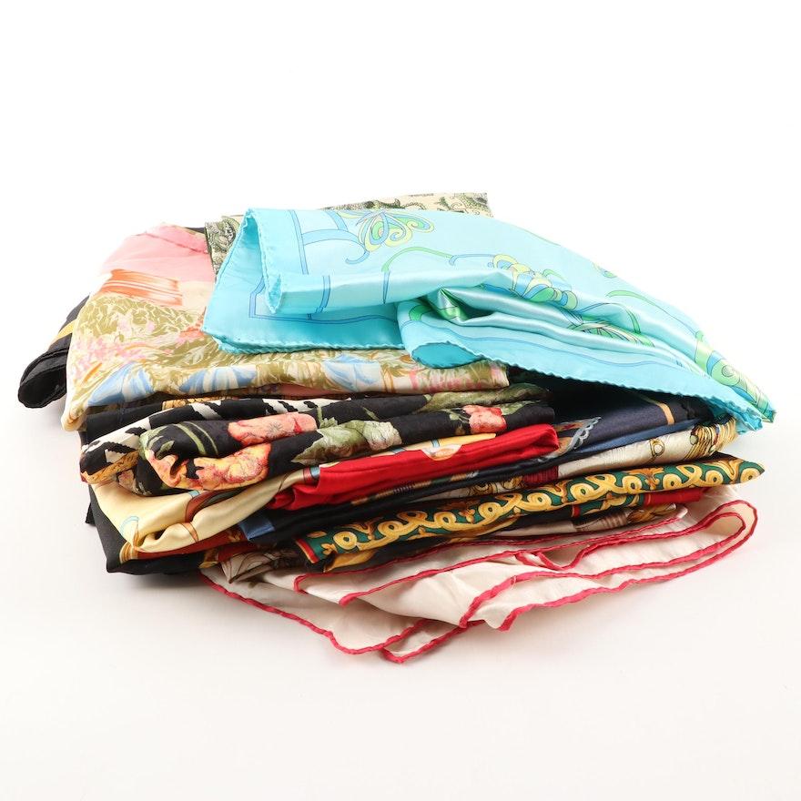 Multicolor Printed Silk Scarves Including Echo