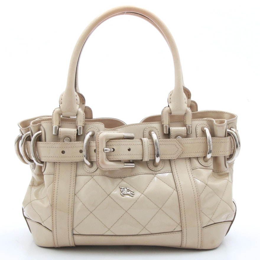 de8e7d34a Burberry Quilted Patent Leather Beaton Handbag in Ivory, Made in Italy |  EBTH