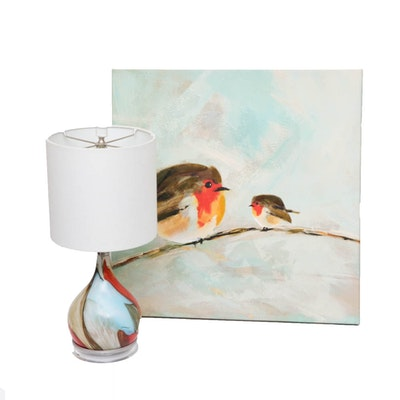 Embellished Offset Lithograph Print on Canvas and Glass Table Lamp