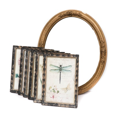 Gesso Framed Wall Mirror and Botanical Offset Lithograph Prints