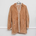 Sheepskin Diamond Pattern and Shearling Button-Front Coat