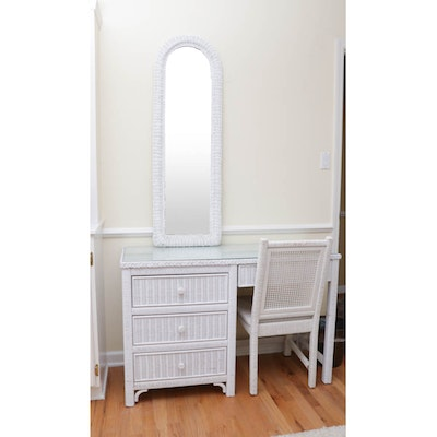 White Wicker Twin Ben Frame, Desk, Chair and Dresser with Wall Mirror