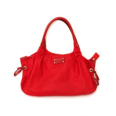 Kate Spade New York Red Nylon Shoulder Bag Trimmed in Leather